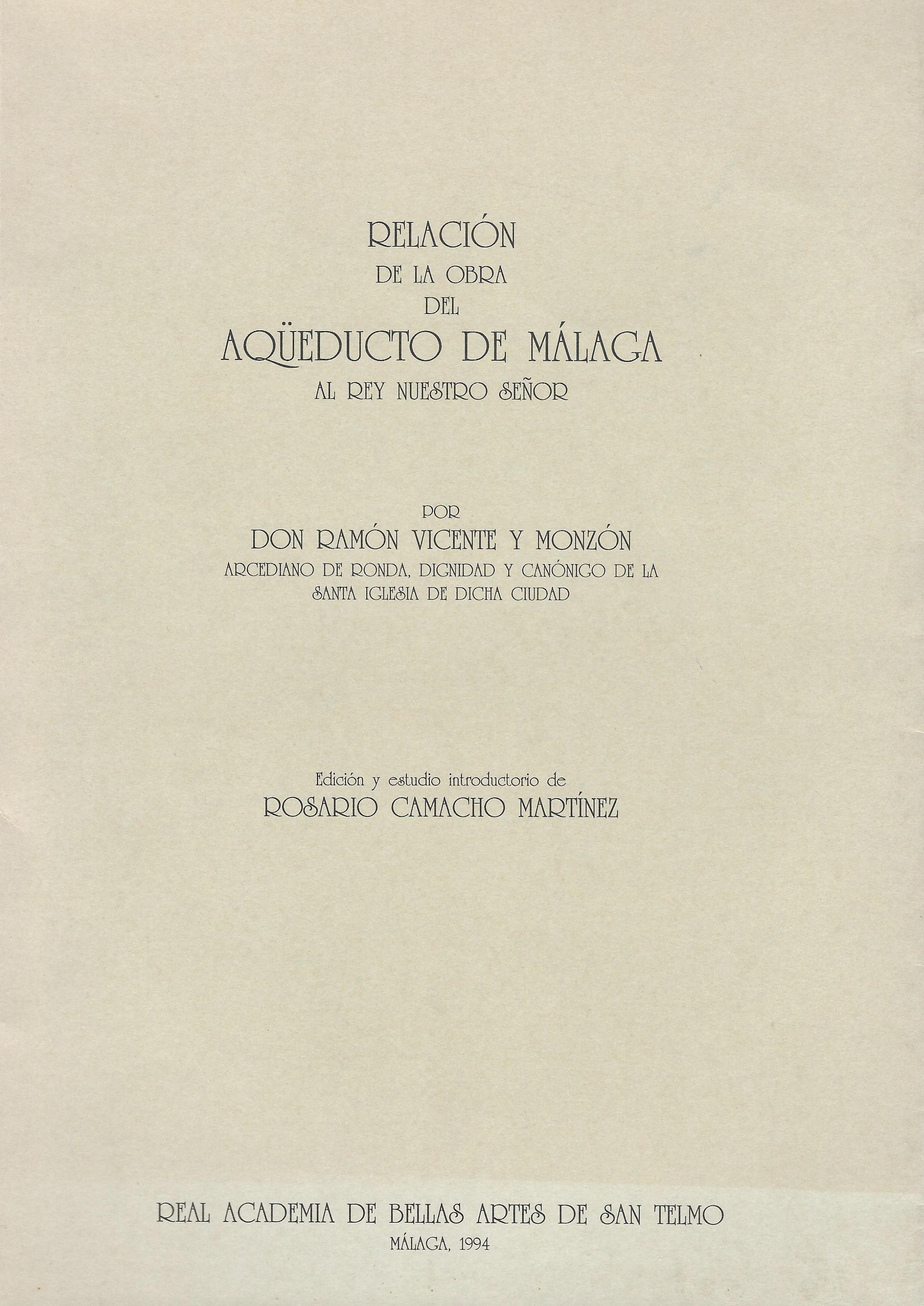 Relación de la obra del Aqüeducto de Málaga