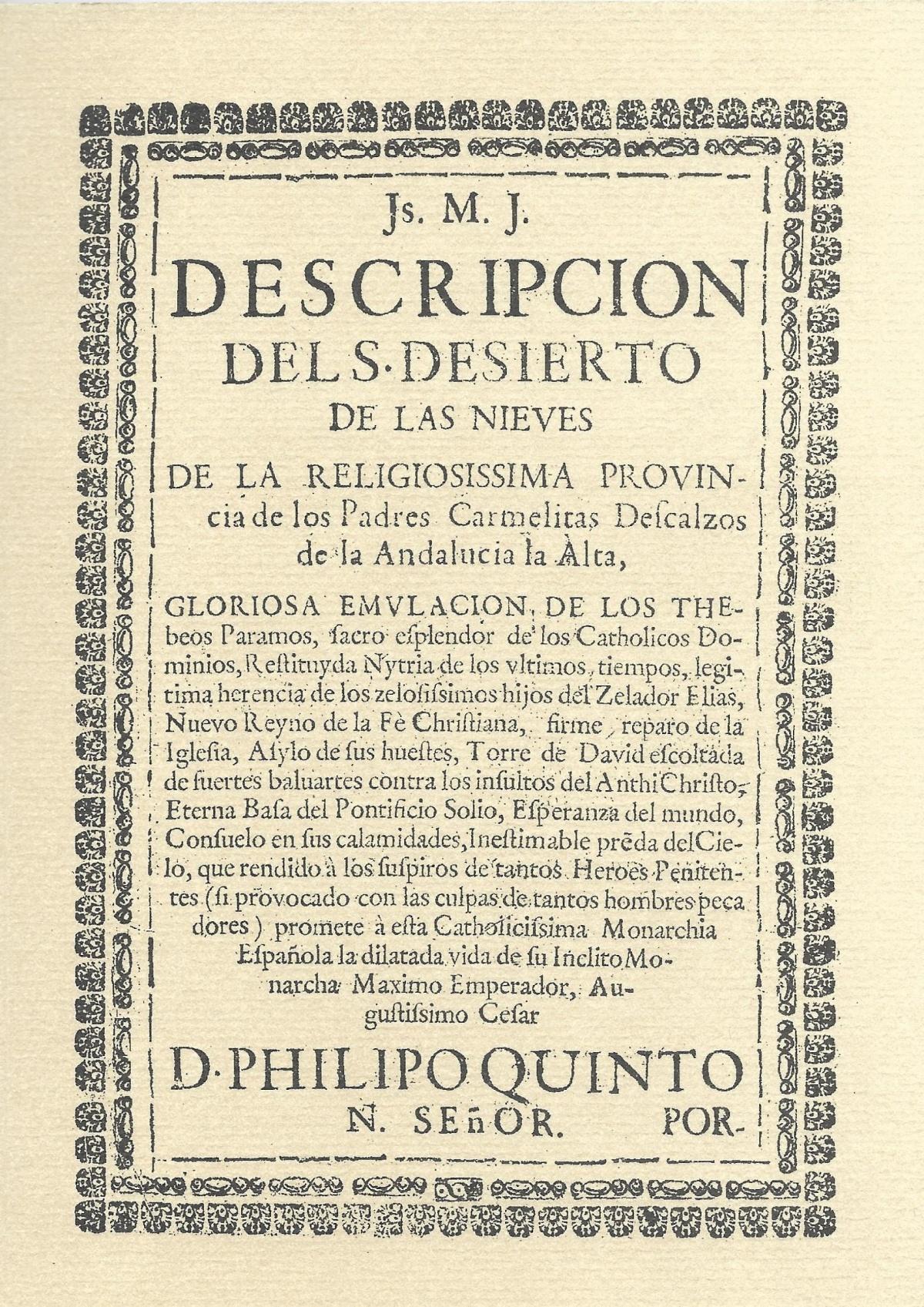 Js. M. J. Descripción del Santo Desierto de la Sierra de las Nieves